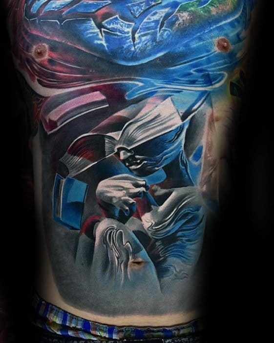 Chest Masculine Surrealism Tattoos For Men
