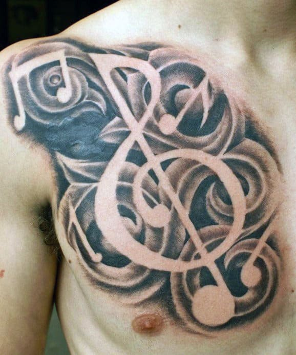 Chest Men Dark Musical Clef Tattoo