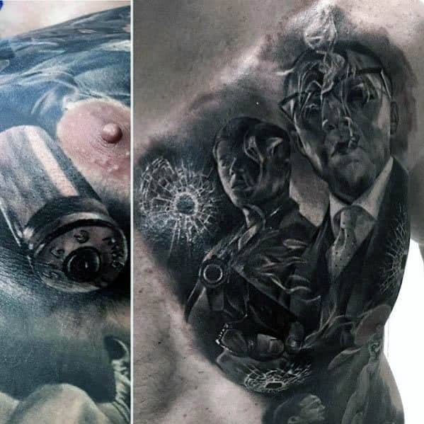 Chest Mens Broken Glass Tattoo Design Ideas