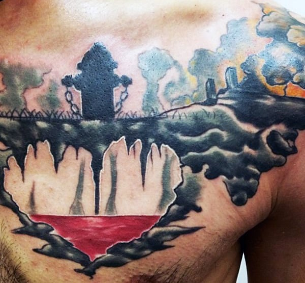Chest Men's Firefighter Tattoo Ideas With Fire Hydrant