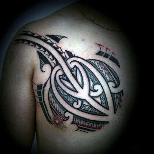 Chest Mens Polynesian Tattoo Inspiration