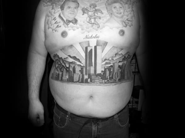 Chest Mens Tattoo Ideas With New York Skyline Design