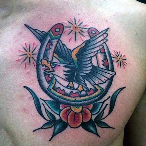 Chest Mens Traditional Horseshoe Bald Eagle Tattoo