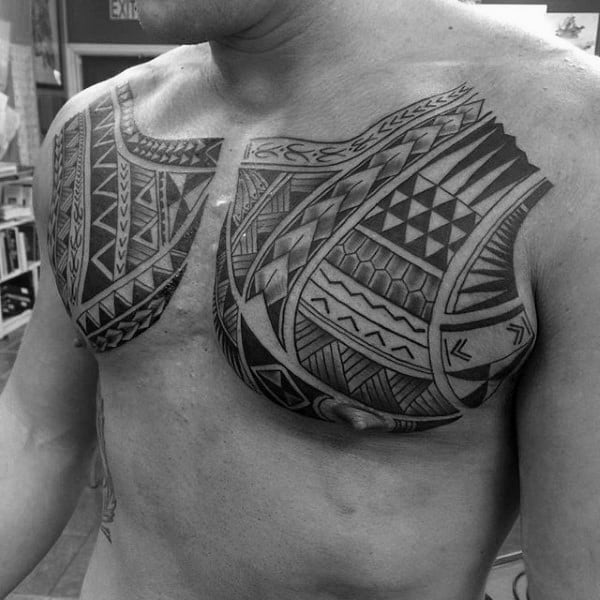 Chest Mens Tribal Tattoos With Polynesian Design