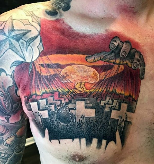 Chest Metallica Tattoos Guys