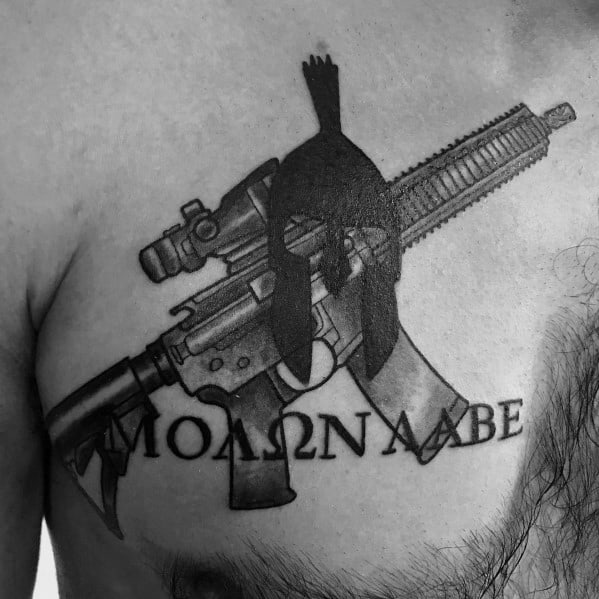 Chest Molon Labe With Spartan Helmet And Ar 15 Tattoos For Men