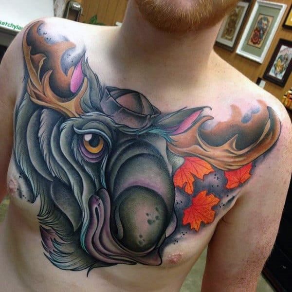 Chest New School Moose Tattoo For Men With Maple Leaves Blowing In Wind