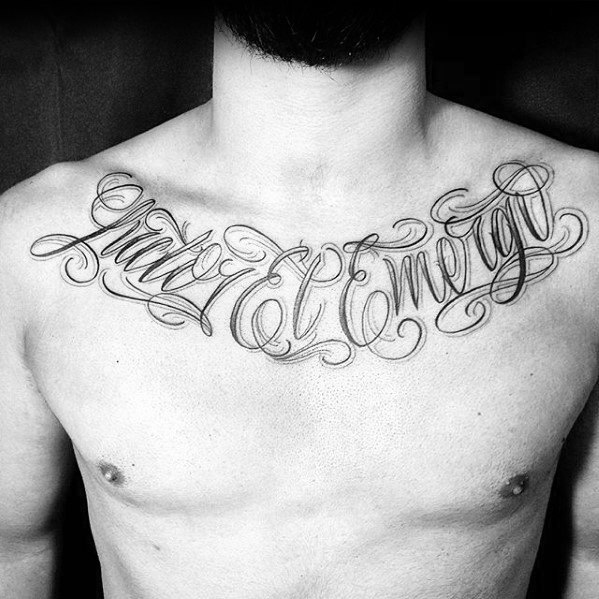 Chest Ornate Script Latin Tattoo Ideas For Males