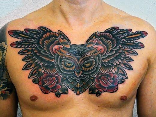 Chest Owl Tribal Men's Tattoo