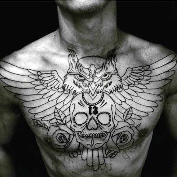 Chest Owl With Skull And Roses Male Tattoo Design Inspiration