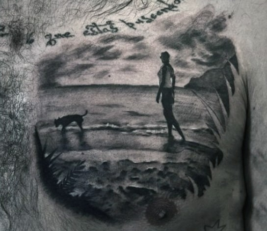 Chest Palm Trees Tattoo With Beach For Males