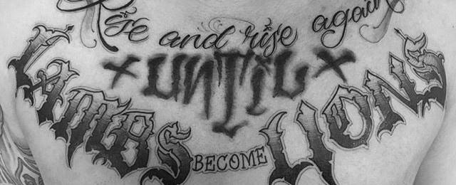 Top 41 Chest Writing Tattoo Ideas [2020 Inspiration Guide]