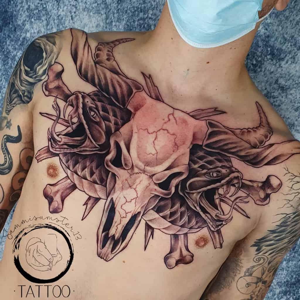 chest ram skull tattoo sammisamster13