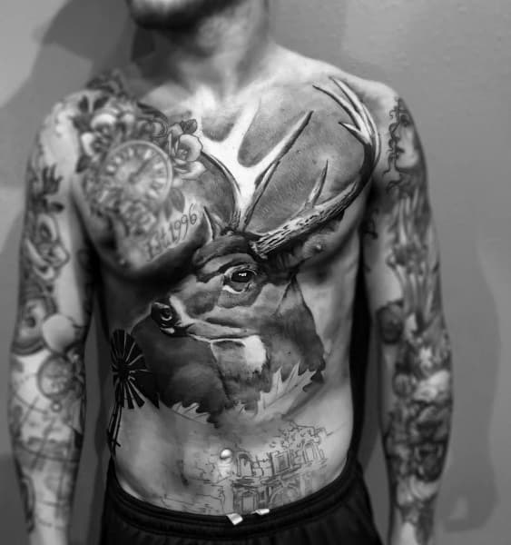 Chest Realistic 3d Deer Bowhunting Tattoos For Males