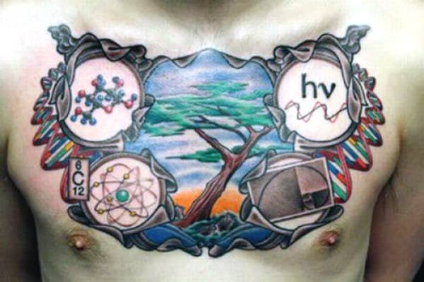 Chest Scientific Tattoos For Guys With Nature