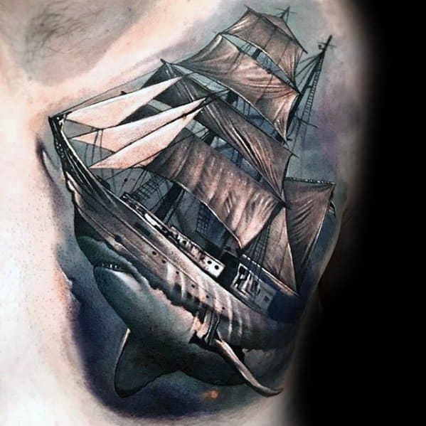 Chest Shark With Ship Morph Tattoos Men