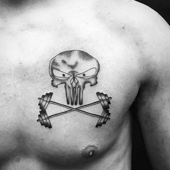 Chest Skull Barbell Tattoo Ideas For Males