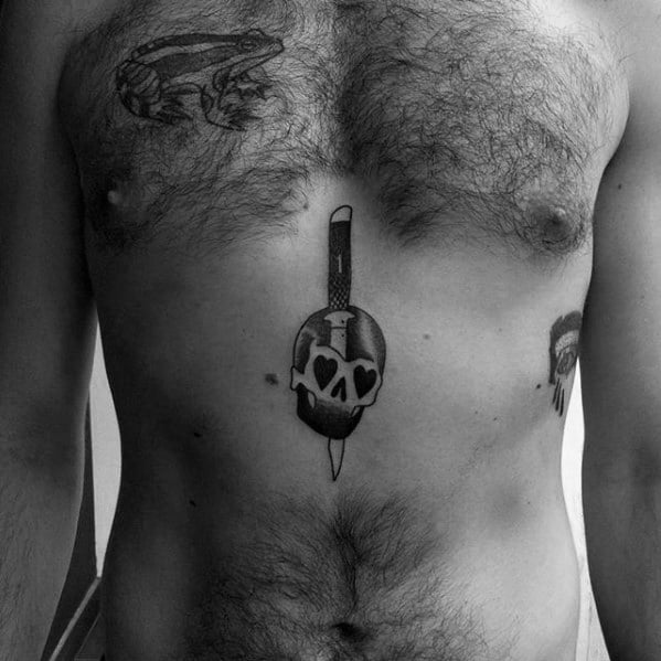 Chest Skull Switchblade Tattoo Ideas For Males