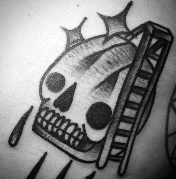 Chest Skull Wth Ladder Filler Designs Mens Tattoo