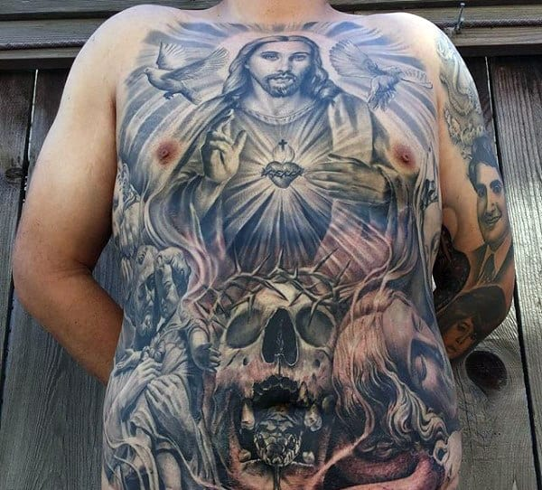Chest Stomach Mens Christian Tattoo Of Jesus And Skulls