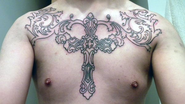 Outline Chest Tattoo Cross