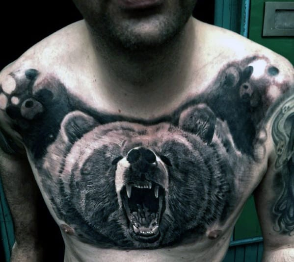 Bear Chest Tattoo Designs For Men