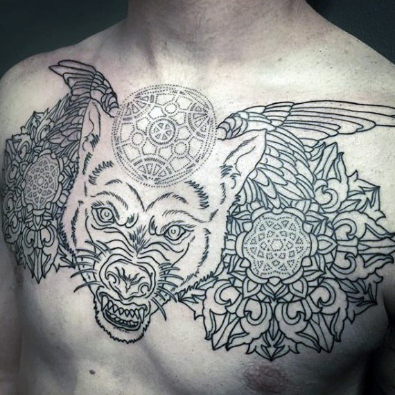 Chest Tattoo Sacred Geometry Shapes On Males