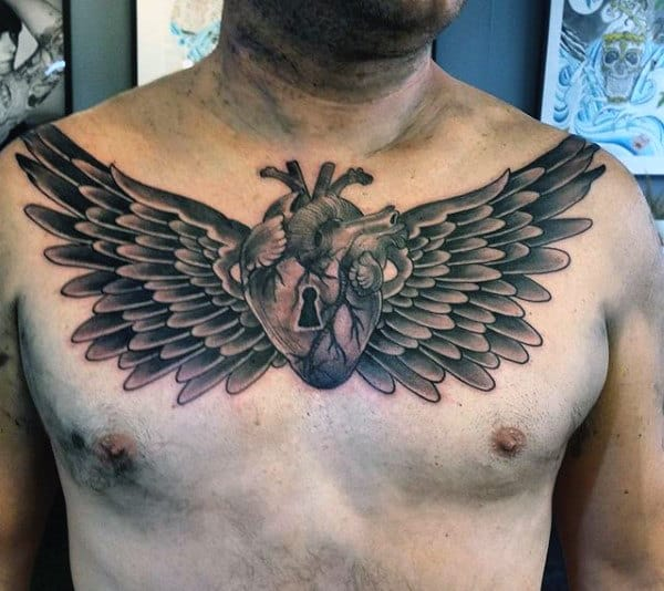 Chest Tattoos With Key Heart And Wings For Men