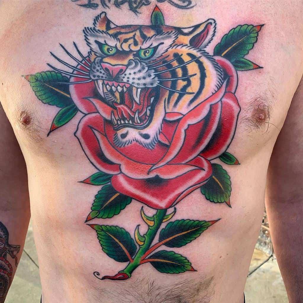 chest tiger rose tattoos ethanjohnjones