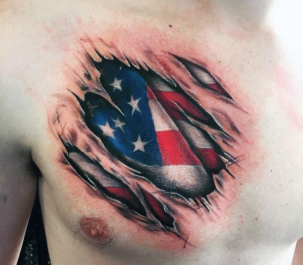 Chest Torn Skin Mens American Flag Tattoos