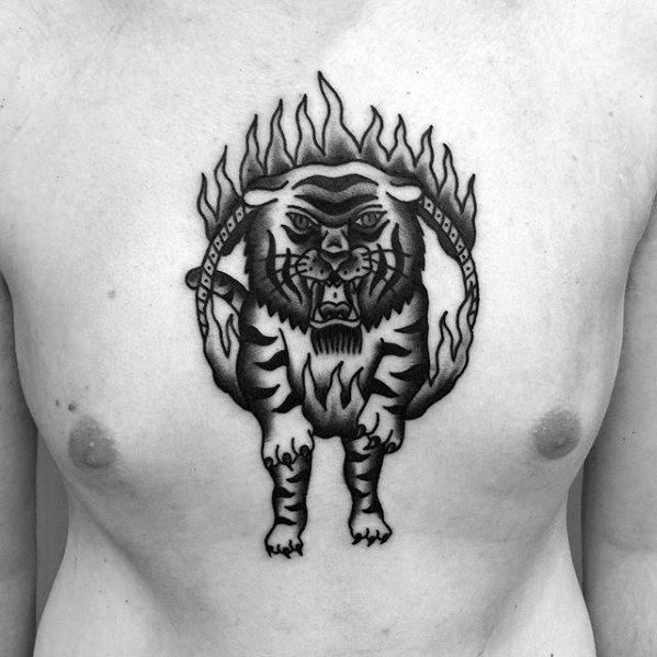 Chest Traditional Tiger Jumping Through Flaming Ring Circus Male Tattoo Designs