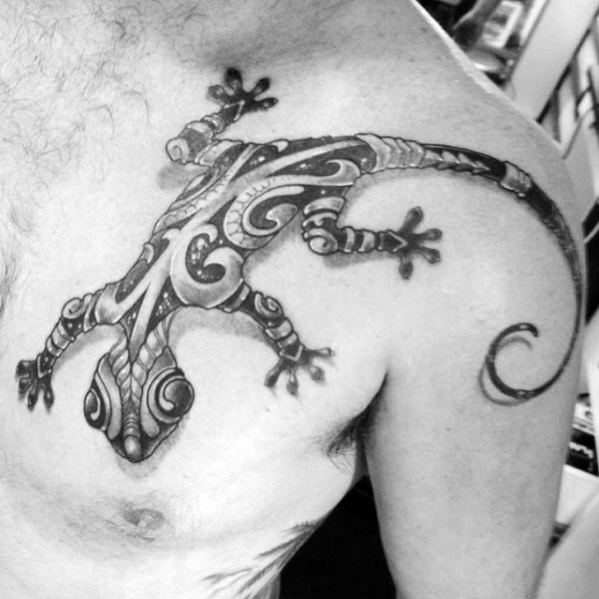 Chest Tribal Awesome Gecko Tattoos For Men