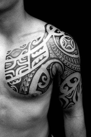 Chest Tribal Tattoos For Men