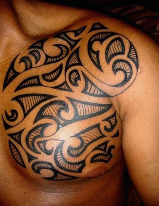Chest Tribal Tattoos For Men