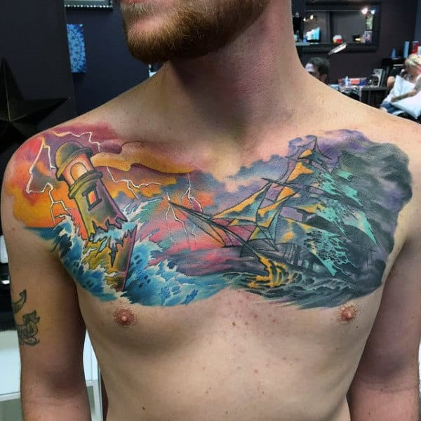 Chest Water Tattoos Designs For Males With Sailing Ship And Lighthouse