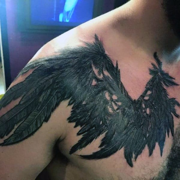 Chest Wings Male Tattoo Of Anicent Tribe