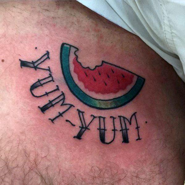 Chest Yum Yum Small Watermelon Mens Tattoo Ideas