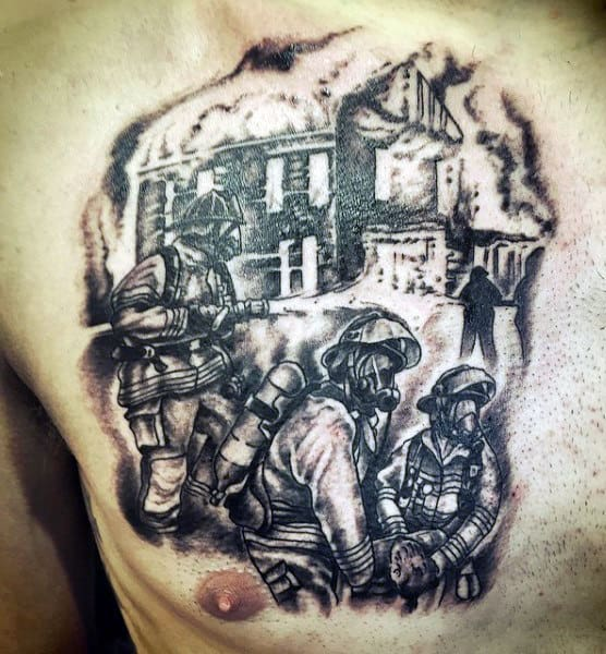 Chest Firefighter Tattoos For Men
