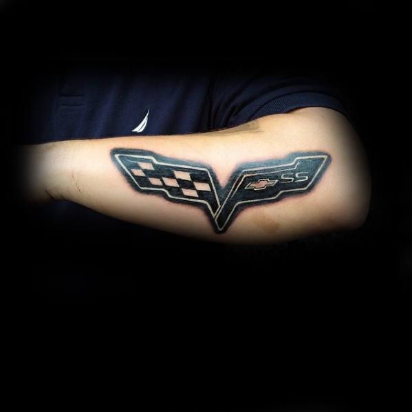 Chevrolet Corvette Mens Outer Forearm Logo Tattoos