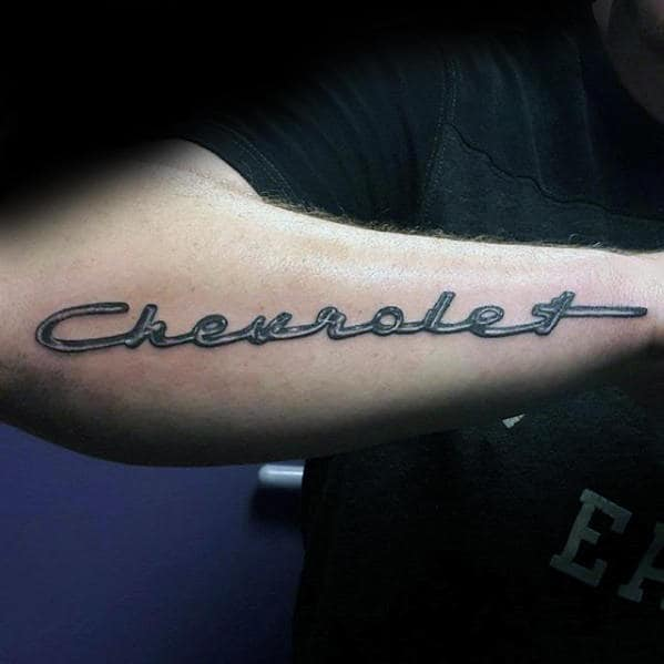 Chevrolet Script Logo Mens Outer Forearm Tattoo With 3d Design