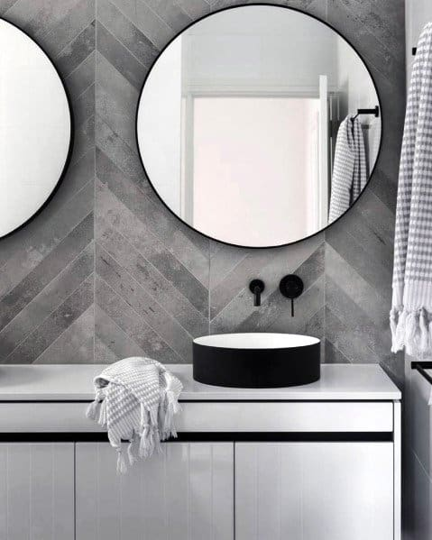 Chevron Modern Grey Tile Bathroom Wall Ideas