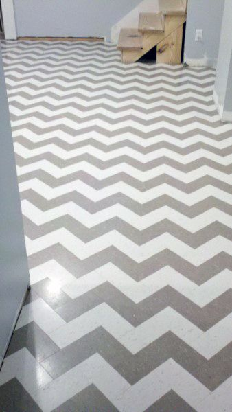 Chevron Painted Concrete Floor Ideas