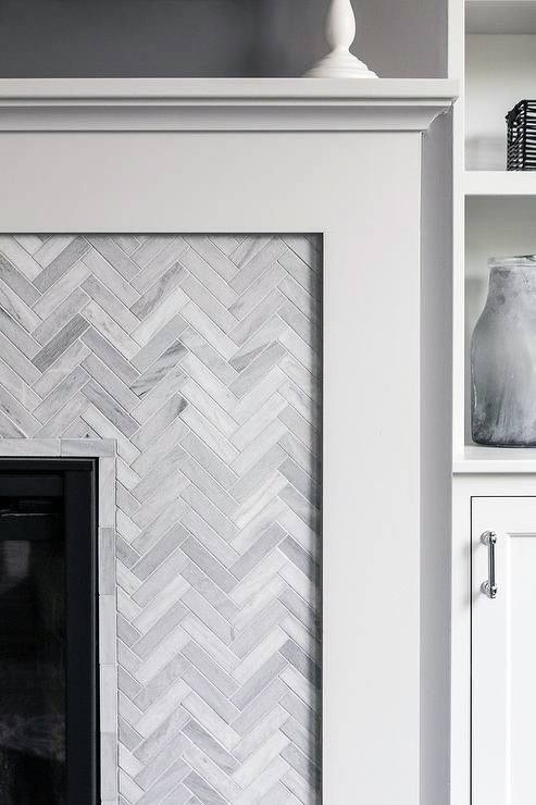 Chevron Pattern Tile Fireplace Mantel Designs