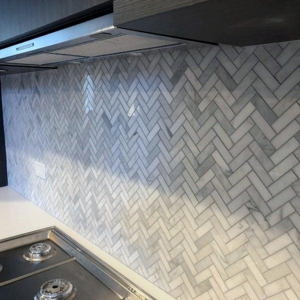 Chevron Pattern Tiles Kitchen Backsplash Designs