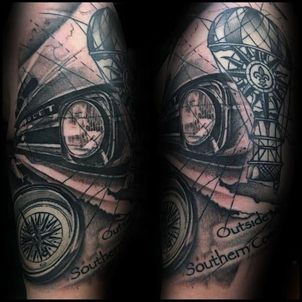 Chevy Headlight Mens Half Sleeve Tattoos