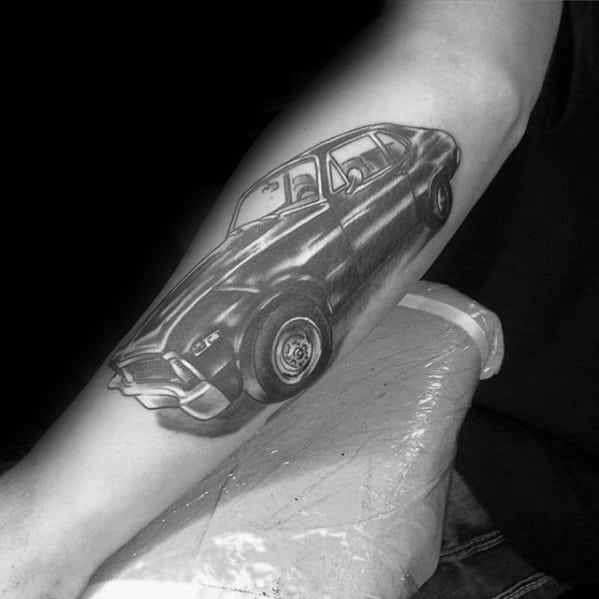 Chevy Sports Car Shaded Black And Grey Inner Forearm Tattoos For Men