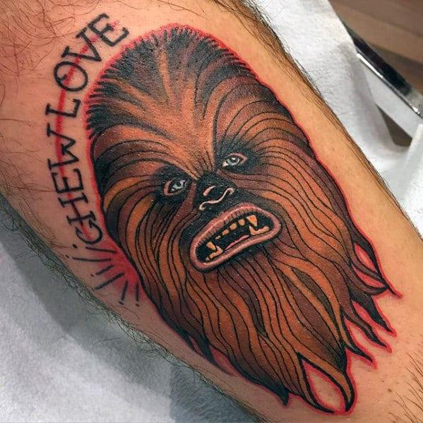 Chewbacca Head Mens Leg Tattoo
