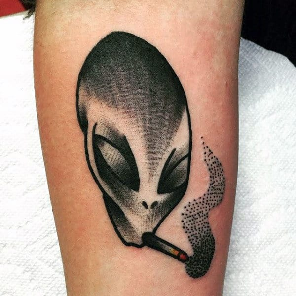 Chic Alien Smoking Tobacco Tattoo Mens Arms