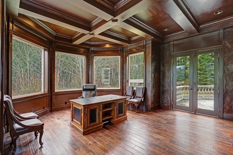 Chic Wood Paneled Home Office Coffered Ceiling
