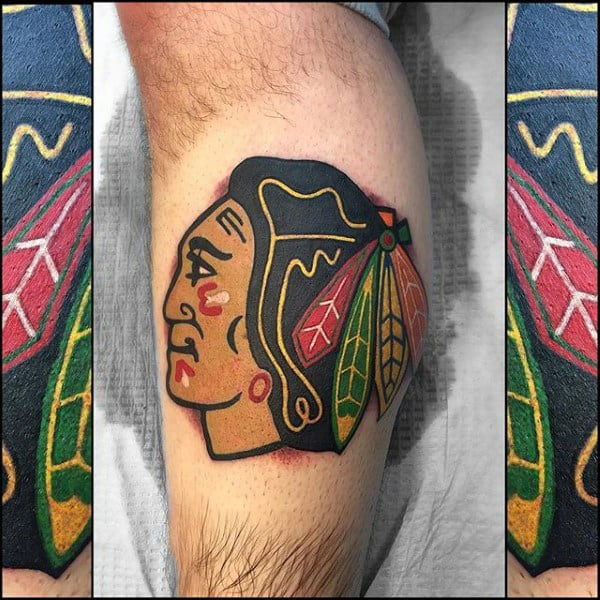 Chicago Blackhawks Logo Mens Leg Calf Tattoo Designs